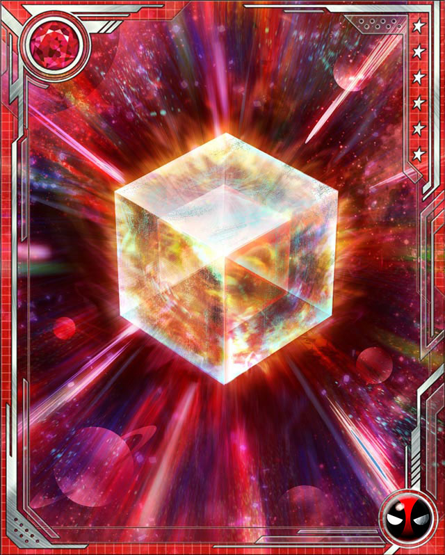 Fuse a U Rare Deadpool Bruiser (or a U Rare Deadpool all-alignment) card with this Cosmic Cube to obtain the fused version of the base card. The resulting card has the same stats (including mastery) as a card obtained by fusing two identical versions of the base card.