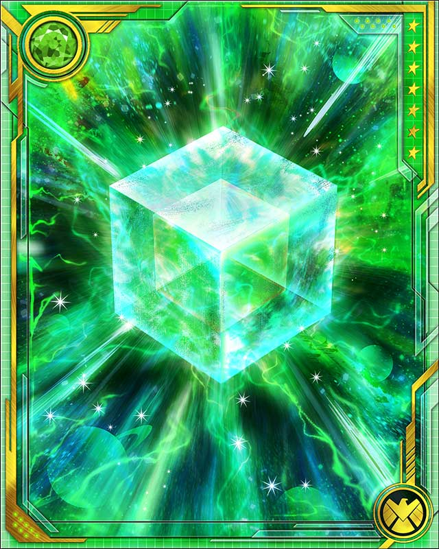 Fuse a Legendary speed card with this Cosmic Cube to obtain the fused version of the base card. The resulting card has the same stats (including mastery) as a card obtained by fusing two identical versions of the base card.