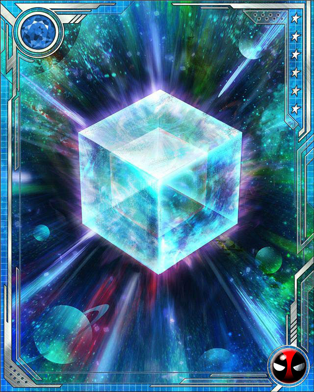 Fuse a U Rare Deadpool Tactics (or a U Rare Deadpool all-alignment) card with this Cosmic Cube to obtain the fused version of the base card. The resulting card has the same stats (including mastery) as a card obtained by fusing two identical versions of the base card.