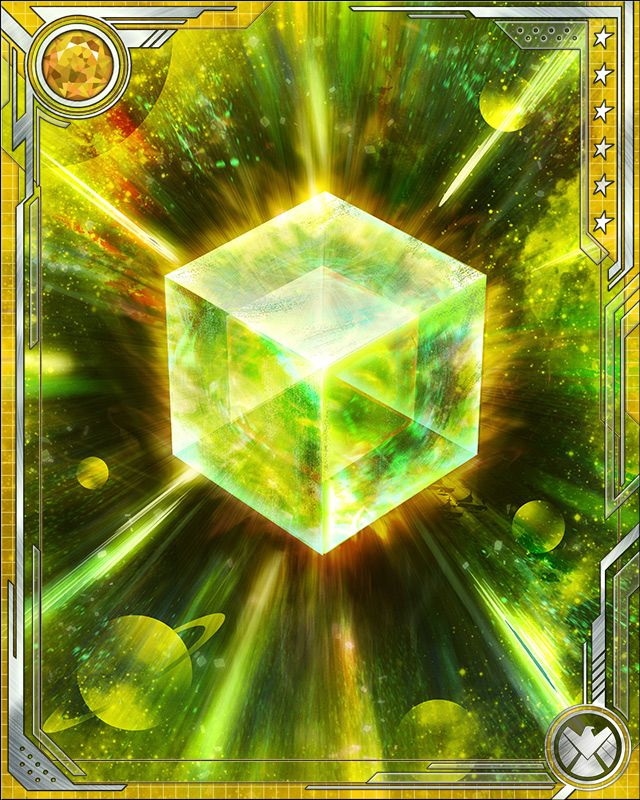 Fuse a U Rare card of any alignment with this Cosmic Cube to obtain the fused version of the base card. The resulting card has the same stats (including mastery) as a card obtained by fusing two identical versions of the base card.