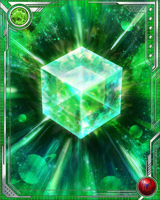 Fuse a U Rare Spider-Man speed (or a U Rare Spider-Man all-alignment) card with this Cosmic Cube to obtain the fused version of the base card. The resulting card has the same stats (including mastery) as a card obtained by fusing two identical versions of the base card.