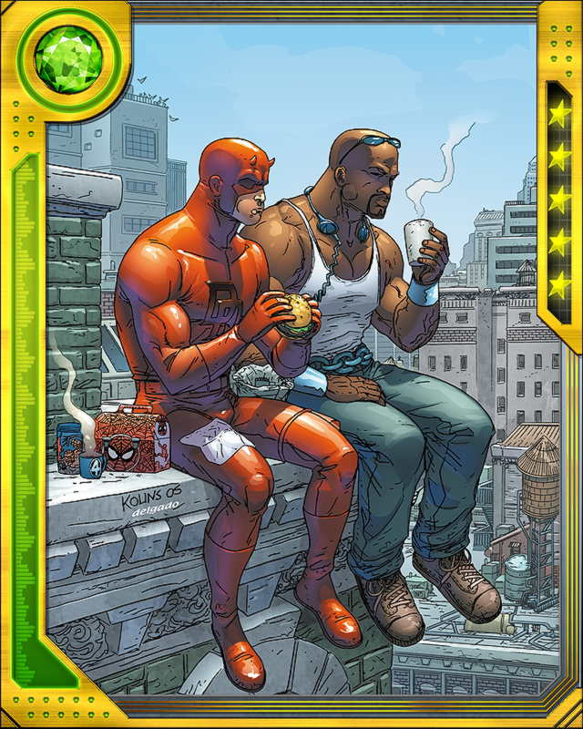 North of Times Square, Daredevil and Luke Cage are the men who know what's going on. They believe in the street, in the common people, and they stay rooted in their city and in their neighborhoods. That's what bonds them together.