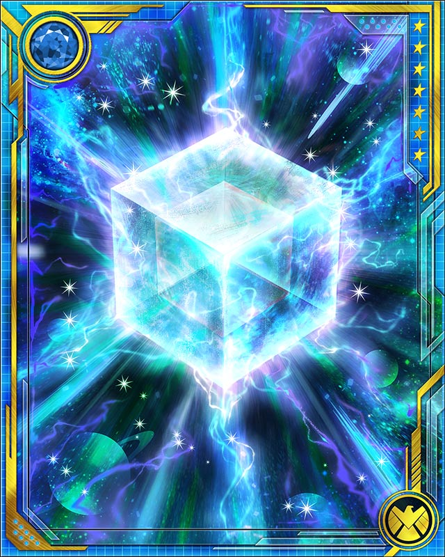 Fuse a Legendary tactics card with this Cosmic Cube to obtain the fused version of the base card. The resulting card has the same stats (including mastery) as a card obtained by fusing two identical versions of the base card.