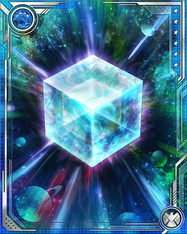 Fuse a U Rare tactics (or a U Rare all-alignment) card with this Cosmic Cube to obtain the fused version of the base card. The resulting card has the same stats (including mastery) as a card obtained by fusing two identical versions of the base card.