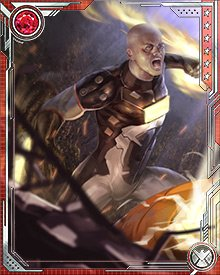 After his attacks on the Order, Tony Stark's Initiative team in California, Zeke Stane moved on to more direct assaults. In one instance, he crashed one of Stark's parties with a band of suicide bombers. He lost most of his hair in the explosion.