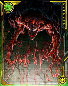 Imprisoned in Ryker's Island, serial killer Cletus Kasady was cell mates with Eddie Brock, who had lost the alien symbiote that turned him into Venom. Brock's symbiote soon returned and bonded with him again, but left behind the symbiote's offspring which then entered Kasady's bloodstream and bonded with him, transforming him into Carnage.