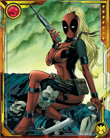 Lady Deadpool has a healing factor and telepathic immunity similar to our world's Deadpool. She also shares his fondness for a variety of weapons, especially guns, but she tends to prefer dual katanas for close work.
