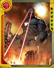 The Stark Sentinels were deployed by the Red Onslaught during World War Hate. They used Pym particles to shrink their neutralized targets for containment. They were defeated by a band of super villains, led by Magneto.