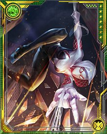 Battling the Inheritors with the rest of the Spider-Army, Gwen becomes known as Spider-Gwen to distinguish her from the other Spider-Woman. She later appears in the Battleworld domain known as Arachnia.