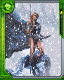 Samantha Parrington has acquired the power and form of the Valkyrie from Enchantress.  Amora transformed her into Asgardian warrior goddess Brunnhilde the Valkyrie.