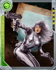 Born to Nazi hunter Ernst Sablinova, the Silver Sable achieved her name and initial fame as a bounty hunter. She took over the Wild Pack, her father's group of hunters, after his death, and formed Silver Sable International.