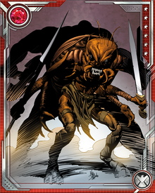 One of Sakaar's so-called Natives, Miek lost most of his family and hive at the hands of Sakaar's Imperials. Escaping with Hulk's renegade band known as the Warbound, Miek underwent a metamorphosis to a warlike King. His hatred for the Imperials spilled over and became an unreasoning desire to see all enemies of the Warbound destroyed along with their planets.