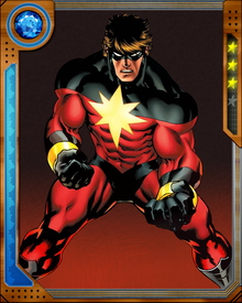 Mar-Vell was once a leading soldier in the alien Kree's war against their nemesis and humanity's: the shape-changing Skrull. Now known as Captain Marvel, he fights for humankind against the Skrull and cosmic threats. He absorbs solar energy and converts it into powerful photon energy blasts. He can also use this stored energy to fly, and he possesses the incredible speed and power of the Kree.