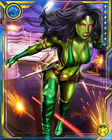 While a member of Infinity Watch, Gamora was charged with protecting the Time Gem, which gave her unpredictable precognitive visions. She could never control them and has not had them since leaving Infinity Watch.