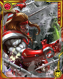 Omega Red's natural mutant powers include the ability to emit death spores and drain the life force of his opponents. This life-draining ability is focused through a pair of prehensile carbonadium tentacles. The radioactivity of the carbonadium poisons him, forcing him to use his life-draining ability constantly or die.