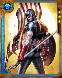 Trapped in suspended animation for decades, Captain America has been revived to continue his crusade for the American Dream. With an indestructible shield that can be used to deflect attacks or hurled as an offensive weapon, he valiantly fights the enemies of freedom.