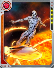 The Silver Surfer's board is cosmically powered making it nearly impervious. It is mentally linked to the Surfer and allows him to travel through interstellar space, dimensional, and hyperspace at speeds beyond the speed of light.