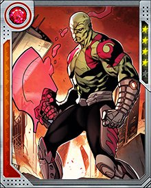 Drax tends to fight shirtless so he can intimidate opponents both with his physique and his fearlessness—not to mention his tattoos. He will wear gauntlets and boots, for style as much as protection. And when it comes to weapons? As long as it's got a bladed edge, Drax will love it.