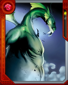 An alien Makluan awakened from its concealed starship by a wandering boy, Fin Fang Foom takes advantage of his dragon form to terrorize his enemies. It is unknown how many other Makluan are hiding in human form.