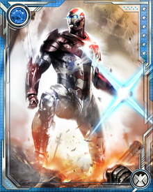 In this suit, I'm Iron Man and Captain America both. I am what this country needs at this time, when we face threats that only a man of strength and vision can face. It's no time for cowards. It's time for Iron Patriot.
