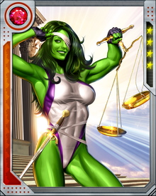 While Invisible Woman was pregnant, She-Hulk was the member of the Fantastic Four in her stead.   She-Hulk is feisty woman who frequently uses humor when fighting and her intelligence to make prudent decisions.