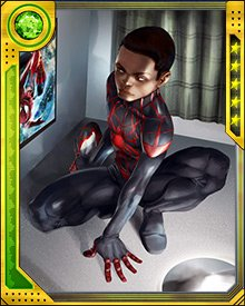 With the complicated series of events surrounding the death of Peter Parker and the implantation of Otto Octavius' brain in his body, a new Spider-Man has emerged: teenager Miles Morales. He is bitten by a spider infused with a version of the formula that created the original Spider-Man.