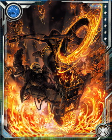 Ghost Rider's Hellcycle is a formidable weapon all by itself. It leaves a trail of fire over any surface—including water and the bodies of whatever unfortunate opponent Ghost Rider has to run over in the course of fighting the forces of darkness.