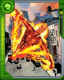 After being exposed to Cosmic Radiation, Johnny Storm gains the power to become the fiery form known as the Human Torch. He is the youngest member of the Fantastic Four.