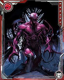 Deranged serial killer Cletus Kasady was the prison cell-mate of Eddie Brock, the man who was bonded with the alien symbiote Venom. When the Venom symbiote slithered into the prison to reconnect with Eddie, it left behind an offspring entity. This offspring entered Kasady's bloodstream through a small cut, bonding not only with the killer, but with his blood! Thus, Carnage was born, allowing Kasady to escape and continue his reign of terror.