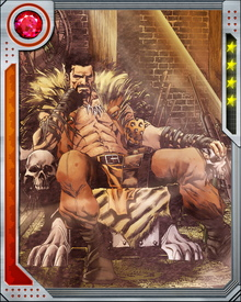 With the use of a mystical potion, Kraven's sight, hearing, and smell were enhanced to super human levels.  The potion also hinders aging.  Despite being over 70 years of age, he has the physical appearance of a 30-year-old man.