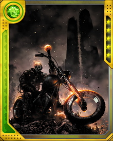 Ghost Rider has powers beyond the physical fires of his chains and his motorcycle. When he focuses the Penance Stare on an opponent, it's a devastating attack on the soul. No physical armor can deflect it.