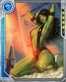 After helping to defend Earth from a recent Badoon invasion, Gamora and other members of the Guardians were imprisoned by the Spartax. Freed by Groot, they returned to battle, now focused on discovering the identity and intentions of the mysterious Angela. She also found the time for an attempt at seducing Tony Stark.