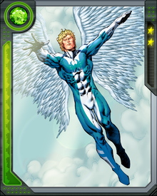 His wings are powerful weapons, enabling Angel to fly at tremendous speeds. Secondary mutations have granted him superhuman eyesight and strength.