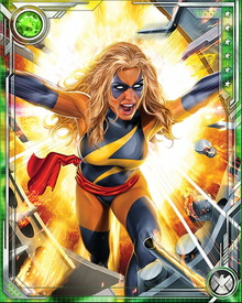 Carol was knocked into a damaged Kree Psyche-Magnitron, a powerful device which could turn imagination into reality. Carol's genetic structure was altered effectively making her a half-Kree superhuman.