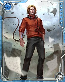 Victor Mancha is the product of cloned DNA from his mother and advanced cybernetics provided by Ultron. He joined the Runaways, since like the rest of them he had a villainous parent, and became an important member of the team because of his powers over magnetism, his enhanced intellect, and his ability to pilot the team's vehicle, the Leapfrog.