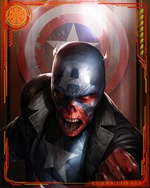 As President, the Red Skull liked to collect the trophies of the defeated heroes. He often wore Captain America's old costume. This desire turned on him in the end, however. Wolverine, one of the few surviving heroes, attacked the Red Skull and killed him with Captain America's shield.
