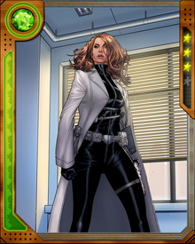 A high-school classmate of Peter Parker's, Jessica Jones gained superpowers when her family car was in an accident with a military convoy containing radioactive material. She and Parker have similar experiences but have never cemented a relationship. She began her crime-fighting career as Jewel, but later dropped the alias and became a superhero-focused private investigator.