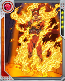 Sunfire's mutant powers are centered around his ability to ionize matter and transform it into superheated plasma. He can see into the infrared spectrum, and is protected from his own plasma jets by a psionic shield.