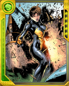 In addition to changing size, Wasp can channel blasts of bioelectric energy through her hands and also exert control over groups of insects. Her strength increases quickly as her size decreases.