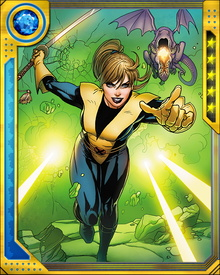 In combat, Kitty Pryde can phase rapidly in and out of solid form, allowing her to pass through solid objects... and allowing attacks to pass harmlessly through her. She also calls on a dragonoid alien known as Lockheed for extra firepower.