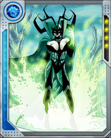 Hela prefers to fight through enchantment, trickery, and her powers over aging and death. When pressed, however, she wields the Nightsword, and is a formidable opponent with it. Even without it, she can kill an enemy with a touch, draining their life force to maintain her youthful beauty and vigor.