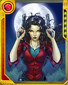 "While her job involves raising zombies at Animators, Inc, she is a lawfully authorized vampire executioner. Vampires have taken to referring to her as ""The Executioner"" because she is more than willing to shoot first and ask questions later if she feels threatened. A tactic that works surprisingly well when dealing with the undead."
