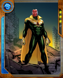 This second incarnation of the Vision is actually a combination of the original Vision's operating system and the armor of Iron Lad, the teenage Kang the Conqueror.