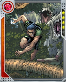 Child of paleontologists and lover of super heroes, Humberto Lopez dreamed of becoming an Avenger. Discovering a strange amulet on one of his parents' digs, he inadvertently transformed himself into the part-human, part-dinosaur who came to be known as Reptil.