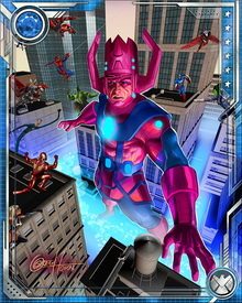 Sole survivor of the universe that existed before the Big Bang created ours, Galactus exists by devouring the energies of biospheres. He can extract and consume these energies himself, but prefers to use his Elemental Converter.