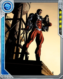 Falcon possesses a cybernetic suit of Wakandan design. With it, he can fly using either physical glider wings or hard light wings created using a device known as the Emitter Array. The suit also gives Falcon a 360-degree field of vision in any light condition, as well as infrared vision.