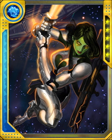 Thanos' training has honed Gamora's combat skills to a deadly edge. He also, through unknown means, has made her resistant to psionic and telepathic attacks... and along the way, replaced her original skeleton with a new one of unknown and nearly unbreakable material.