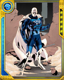Adam Brashear became Blue Marvel when an experimental attempt to harness antimatter by creating a controlled conduit to the Negative Zone went wrong. He was exposed to mutagenic radiation and his body was transformed into a stable antimatter reactor. Because Brashear is African-American, his appearance in the 1960s unsettled those who feared a powerful minority figure. President Kennedy asked him to withdraw from the public eye, and he did, building himself a secret fortress at the bottom of the Marianas Trench.