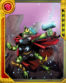 A human turned into a frog by a gypsy curse, Throg was originally Puddlegulp. He became Throg after witnessing a sliver of Mjolnir break off against the goat Toothgnasher's hoof. Picking up the fragment, Puddlegulp saw it become a tiny version of Mjolnir and beheld himself turned into Throg, Frog of Thunder.