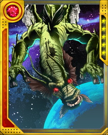 The being known as Fin Fang Foom is an alien from the planet Maklu IV. Placed into stasis after his starship crashed on Earth, he was awakened and battled the Mandarin after the Mandarin found the Ten Rings of Power on the Makluan ship.